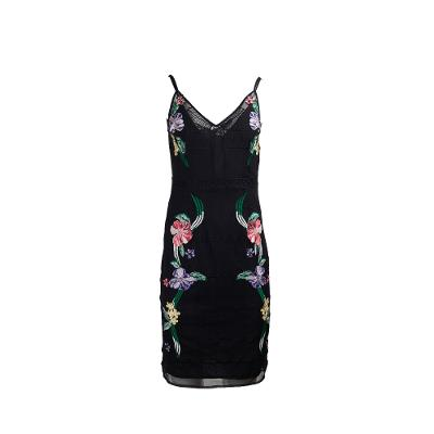 sleeveless floral pattern dress black